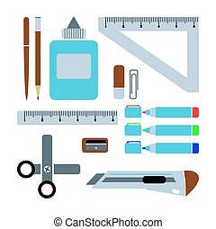Set of schools supplies from student's backpack. Vector flat illustration.