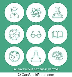 Set of Science Green icons. EPS 10, vector illustration.