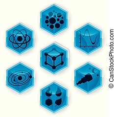 Set of science icons on 3D hexagons.