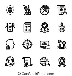 Set of Science icons, such as Pie chart, Internet search, Microscope. Vector