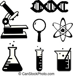 set of science stuff icon Lab cartoon icon vector