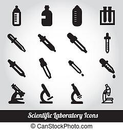 Set of scientific laboratory icons