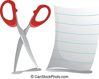 Set of Scissors and Paper Sheet