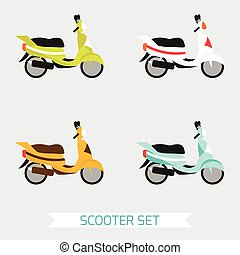 Set of scooters in different colors