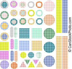 Set of scrapbook design elements - frames, tags, buttons