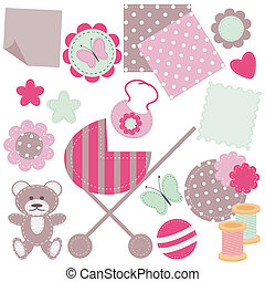 set of scrapbook objects