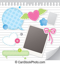 set of scrapbooking elements - set of colorful scrapbooking ...