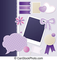 set of scrapbooking elements - set of violet scrapbooking ...