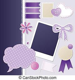 set of scrapbooking elements - set of violet scrapbooking...