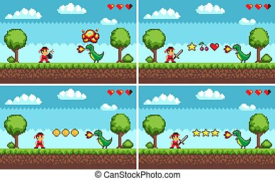 Set of Screens of Level Colorful Pixel Game Vector
