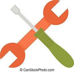 Set of screwdriver hand tool worker instruments flat cartoon.