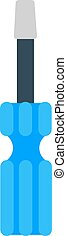 Set of screwdriver hand tool worker instruments flat cartoon vector.