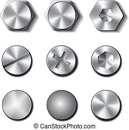 Set of screws and bolts on white background. Vector...