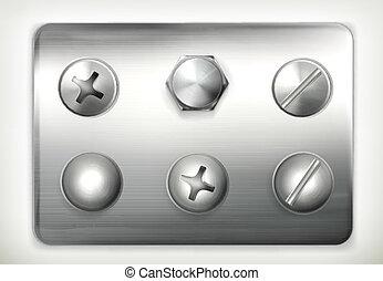 Set of screws, vector