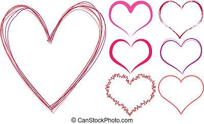 scribble hearts - set of scribble hearts, vector