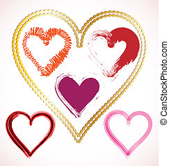 Set of scribble hearts with grungy texture. Vector