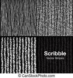 Set of Scribble Lines Patterns Hand Drawn in Pencil on Black...