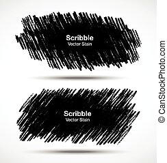 Set of Scribble stains Hand drawn in pencil, vector logo design elements