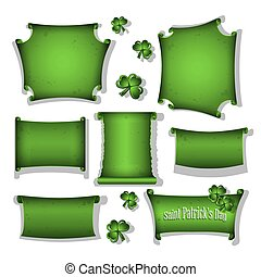 Set of scrolls for St Patricks Day greeting cards.