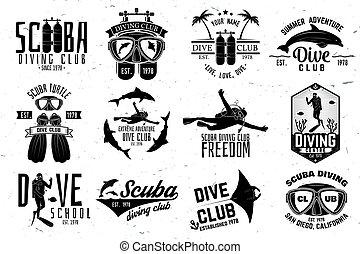 Set of Scuba diving club and diving school design. Vector...