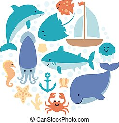 Set of sea animals in circle isolated on white background.