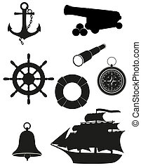 set of sea antique icons