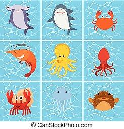 Set of sea creature character illustration