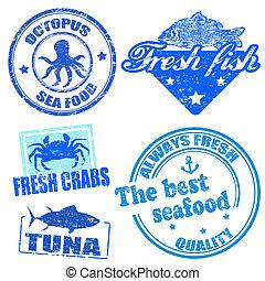 Set of sea food grunge rubber stamps