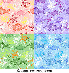 Set of sea hand drawn seamless pattern - Set of sea seamless...