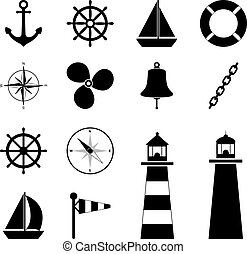 Set of sea icons, vector illustration