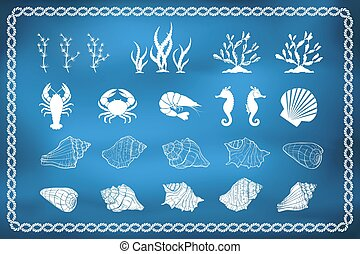 Set of sea life silhouettes