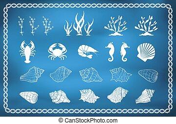 Set of sea life silhouettes