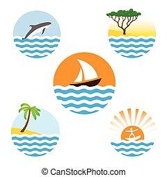 Set of sea logos