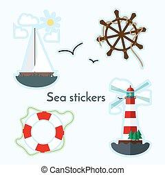 Set of sea object - lighthouse, sail boat, ship wheels and lifebuoy.