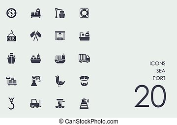Set of sea port icons
