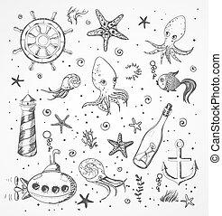 Set of sea sketch objects