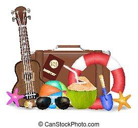 set of sea travel object with sun glasses suitcase ukulele safety torus beach ball