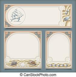 Set of sea vintage vacation frame banners, labels - Set of...