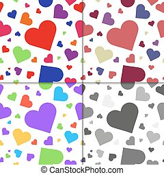Set of seaamless patterns, hearts