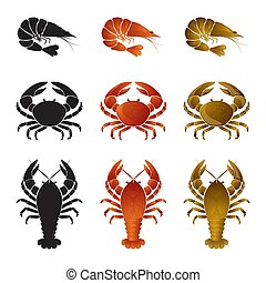 Set of seafood icons - shrimp (prawn), crab and lobster(omar, crayfish)