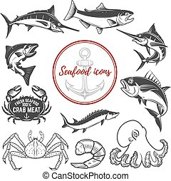 Set of seafood icons isolated on white background. Octopus, crab