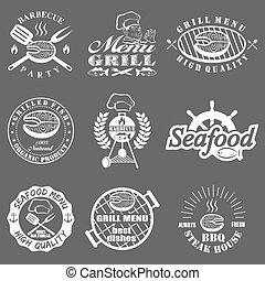 set of seafood labels
