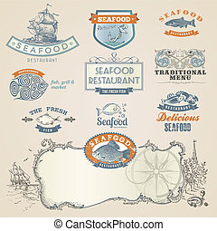 Set of seafood labels and elements