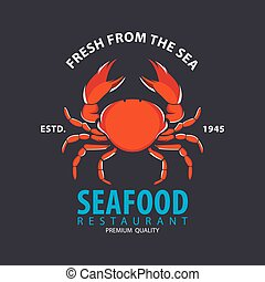 set of seafood logo template