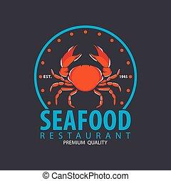 set of seafood logo template