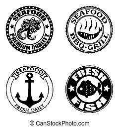 Set of seafood logos, badges, labels