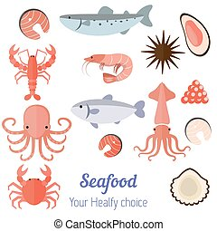 Set of seafood products - Vector set illustration of...
