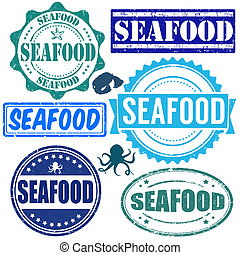 Set of seafood stamps