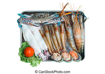 Set of seafood top view on white background