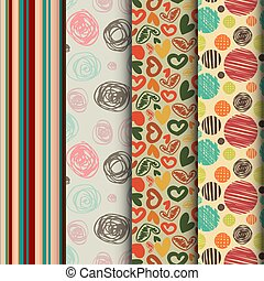 set of seamless abstract pattern in retro style - 4 Retro...